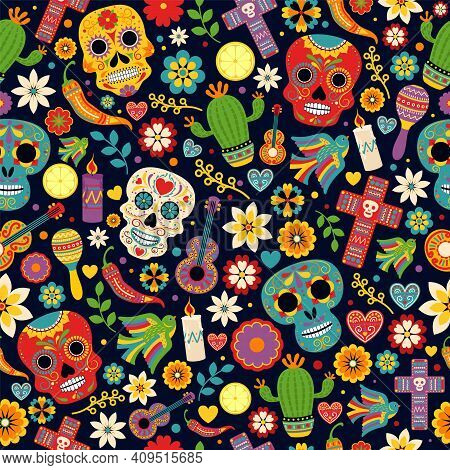 Dia De Los Muertos Seamless Vector Pattern. Decoration With Skeletons And Flowers. Day Of The Dead.