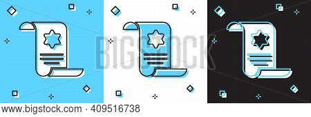 Set Torah Scroll Icon Isolated On Blue And White, Black Background. Jewish Torah In Expanded Form. S