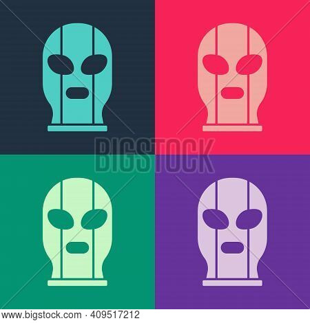 Pop Art Mexican Wrestler Icon Isolated On Color Background. Vector