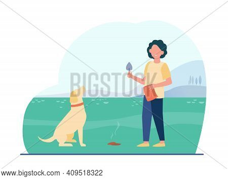 Owner Cleaning Up After Dog. Kid Walking Pet With Trowel And Bag. Flat Vector Illustration. Hygiene,