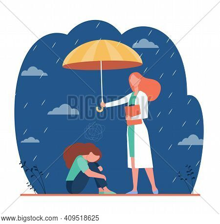 Counselor Helping Depressed Client. Psychologist With Umbrella Above Anxious Woman. Flat Vector Illu