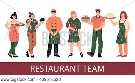 Lovely Friendly Group Of Restaurant Staff Characters, Flat Cartoon Vector Illustration Isolated On W