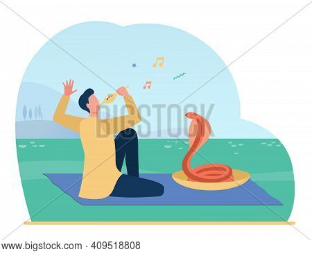 Snake Charmer Playing Pipe Flute For Dancing Cobra. Musician, Trainer, India. Flat Vector Illustrati