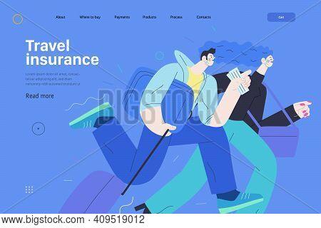 Travel Insurance -medical Insurance Web Page Template -modern Flat Vector Concept Digital Illustrati