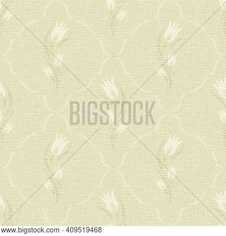 Seamless Background With Floral Motifs. Light Brown, Yellow, Beige Colors Of Pattern, Pastel Tones.