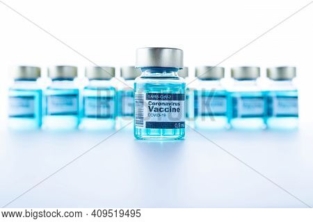 Medical Needles. Medical Syringe With Needle For Protection Flu Virus And Coronavirus. Covid Vaccine