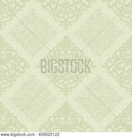 Seamless Background With Classic Patterns. Light Green Color, Pastel Tones. Coarse Weaving Structure