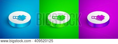 Isometric Line Skyscraper Icon Isolated On Blue, Green And Purple Background. Metropolis Architectur