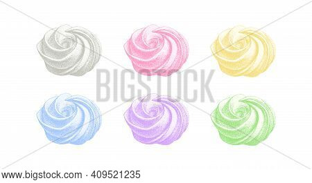 Set Of Color Airy French Meringues, Collection Of Marshmallow, Zephyr. Vector In Graphic Vintage Ret