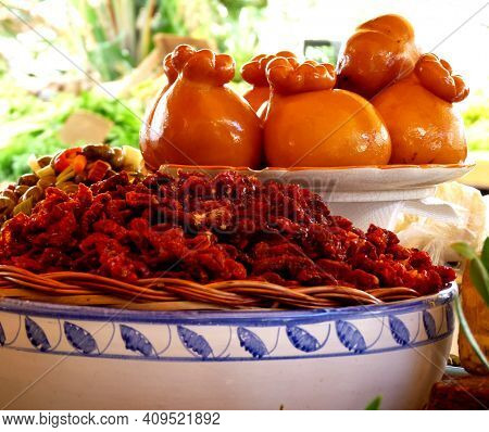 Colourful Selection Of Gourmet Food In Attractive Bowls In Market, Syracuse, Sicily, Italy. High Qua