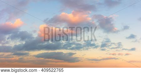 Panoramic view of  Sunset  Sunrise Sundown Sky with colorful clouds wothout any birds, long panorama, crop it