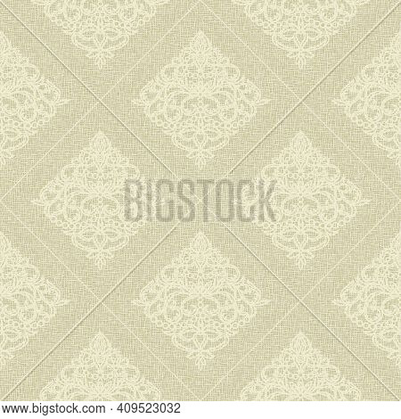 Seamless Background With Classic Motifs. Light Brown, Gold, Yellow Colors, Pastel Tones. Coarse Weav