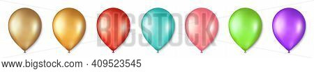 Balloon Vector Set. Birthday Balloons For Celebration, Party, And Wedding. Celebrate Anniversary, He