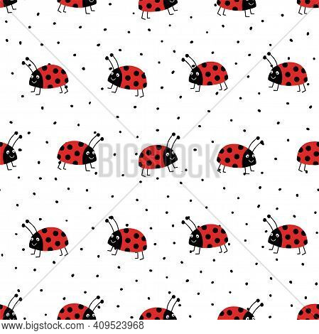 Ladybugs Seamless Vector Pattern. Flat Red Ladybugs On White Repeating Background With Black Spots.