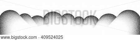 Dotwork Mountain Pattern Vector Background. Black Noise Stipple Dots. Sand Grain Effect. Dots Grunge
