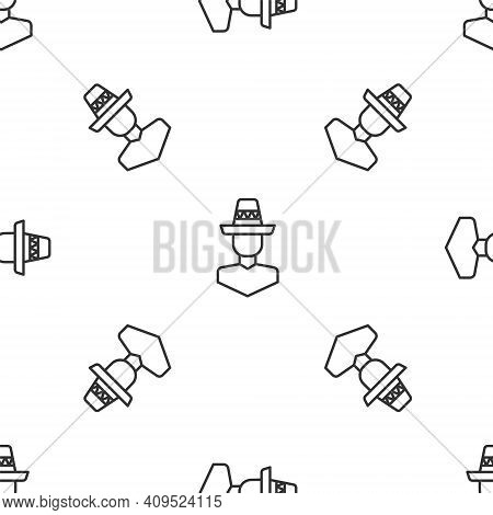 Grey Line Mexican Man Wearing Sombrero Icon Isolated Seamless Pattern On White Background. Hispanic