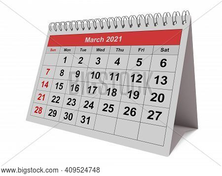 One Page Of The Annual Monthly Calendar - Month March 2021. 3d Rendering