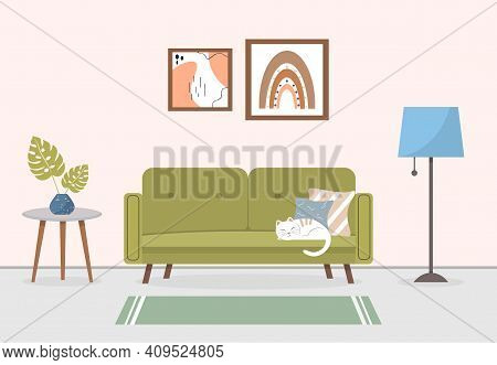 Living Room Interior With Furniture. Modern Living Room Interior. Sleeping Cat On The Sofa. Cozy Apa