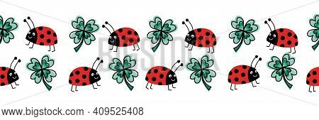 Seamless Ladybug And Four Leaf Clover Vector Border. Flat Red Ladybugs And Clover Leaves On White Ho