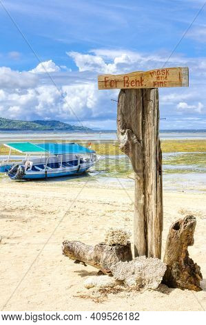 Gili Air Island In The Indian Ocean. 03.01.2017 The Vicinity Of The Ferry Pier. Boat Rental