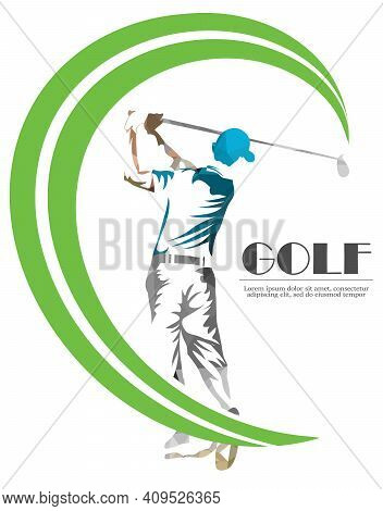 Abstract Silhouette Of A Golf Player, Golfer On The White Background. Golf Player, Abstract Blue Col