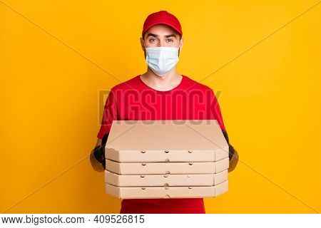 Portrait Of Nice Guy Wear Mask Bringing Pizza Pile Stack Boxes Stop Contamination China Wuhan Pandem