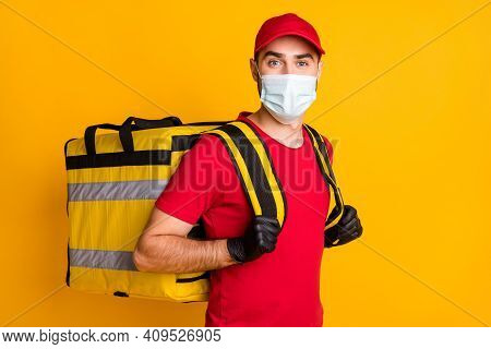 Portrait Of Nice Healthy Guy Wear Gauze Mask Carrying Bag Order Stop Pandemia Mers Cov Concept Isola