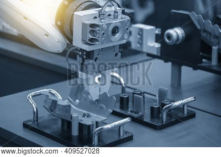 The Hi-technology  Material Handling Process By Robotic System With Sheet Metal Parts. The Sheet Met