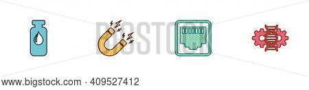 Set Medical Vial, Ampoule, Magnet With Lightning, Network Port Cable Socket And Gene Editing Icon. V