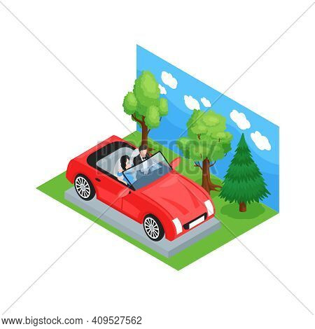 Isometric Cinematography Composition With Fake Landscape And Car With Actors In Studio Vector Illust