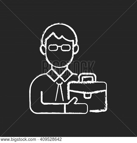 Male Adult Chalk White Icon On Black Background. Middle-aged Man. Midlife Reevaluation. Fully Develo