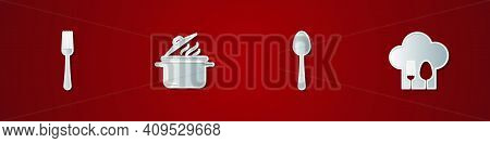 Set Fork, Cooking Pot, Spoon And Chef Hat With Fork And Spoon Icon. Vector