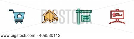 Set Shopping Cart With House, Rising Cost Of Housing, Hanging Sign Open And For Sale Icon. Vector