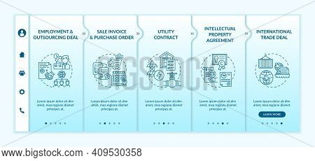 Common Commercial Contracts Types Onboarding Vector Template. Sale Invoice And Purchase Order. Respo
