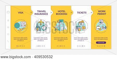 Business Trip Requirements Onboarding Vector Template. Travel Insurance. Hotel Booking. Tickets. Wor