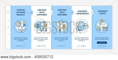 Business Travel Types Onboarding Vector Template. Visiting Company Branch. Meeting With Suppliers. R