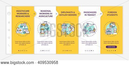 Travel Ban Exemption Categories Onboarding Vector Template. Seasonal Workers In Agriculture. Diploma