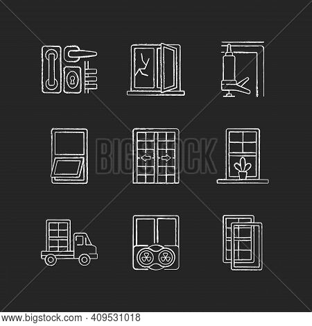 Window And Door Installations Chalk White Icons Set On Black Background. Locks And Levers. Fixing Cr