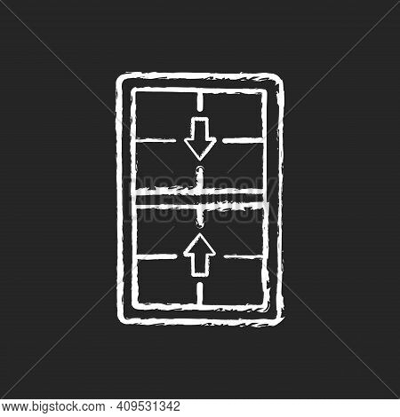 Double-hung Windows Chalk White Icon On Black Background. Two Operating Sash Moving Up, Down. Vertic