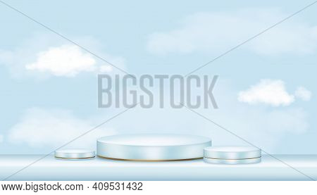 Vector 3d Showcase Display With White Fluffy Clouds In Blue Pastel And Yellow Gold Stand, Realistic