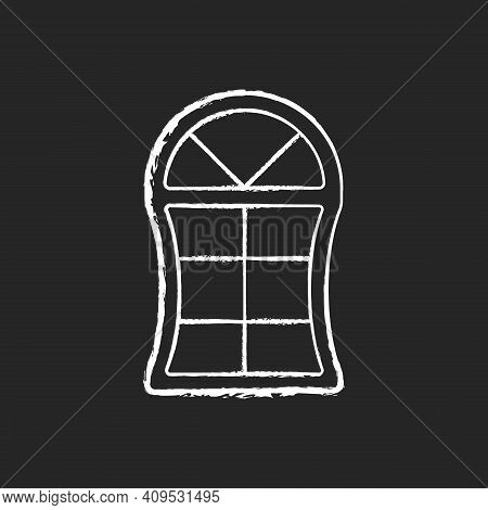 Custom Windows Chalk White Icon On Black Background. Fitting Design Into Window Opening. Unique, Dis