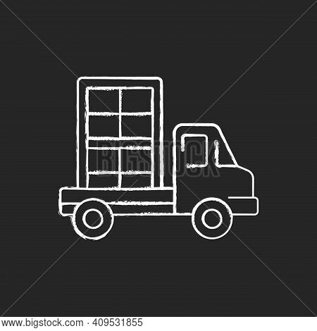 Window Delivery Chalk White Icon On Black Background. Customer Service. Delivering Building Material