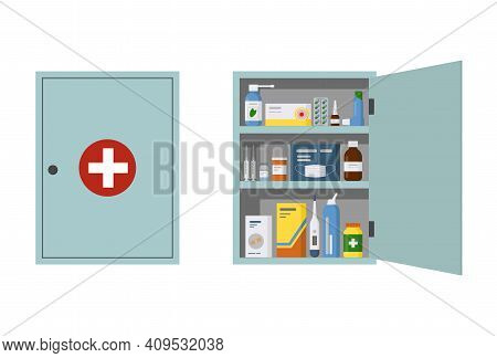 Medicine Cabinet With Open And Closed Door In The Bathroom. First Aid Kit With Bottles, Pills And Dr