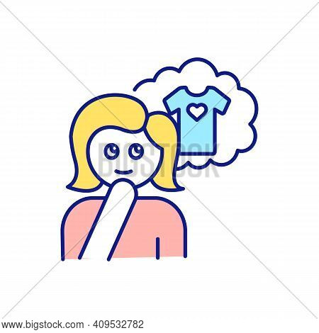 Girl Dreaming About Buying Blouse Rgb Color Icon. Person Thinking About Useful And Needed Dress. Sho