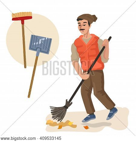 Janitor Sweeping. Professions, Character And Items For His Work. Children Education. Exercise For Pr