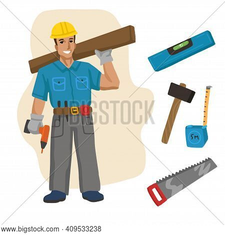 Builder Carpenter . Professions, Character And Items For His Work. Children Education. Exercise For