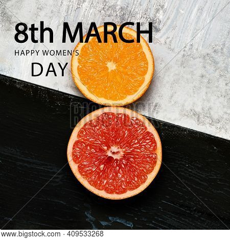 Black And White. Juicy Orange And Grapefruit In Shape Of Number 8 Over Bw Background. Greeting Card,