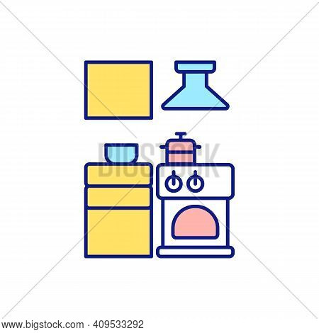 Working Space For Cleaning Services Rgb Color Icon. General Cleaning In Cook Room. Organization Of F