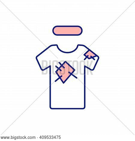 Torn Patch T-shirt Pink Rgb Color Icon. Sorting Clothes For Repair And Disposal. Throwing Away Damag