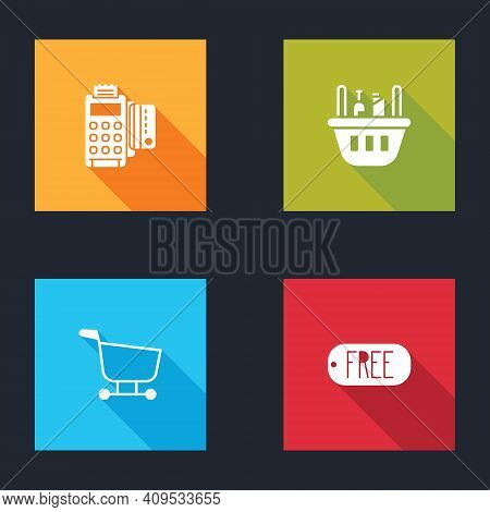 Set Pos Terminal With Credit Card, Shopping Basket And Food, Cart And Price Tag Text Free Icon. Vect